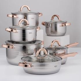 Набор посуды «Голд», 6 предметов: ковш 2,1 л, кастрюли 2,1 л, 2,9 л, 3,9 л, 6,6 л, сотейник с антипригарным покрытием 3,4 л
