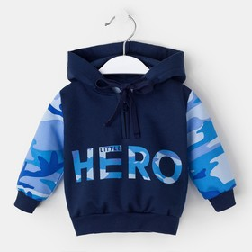 "Худи Крошка Я ""Little hero. HERO"", синий, 24 р, 68-74 см"
