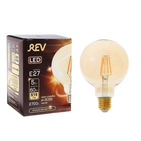Лампа светодиодная REV LED FILAMENT VINTAGE, G95, 5 Вт, E27, 2700 K, шар, теплый свет