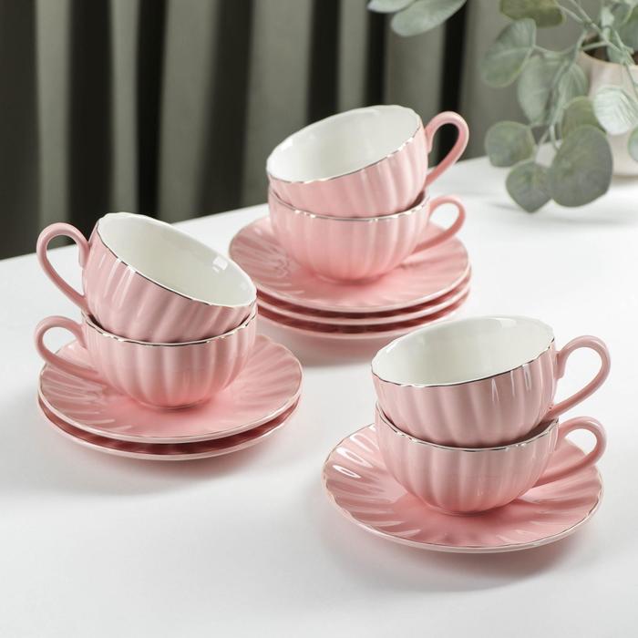 Tea set components: 6 cups 200 ml 6 saucers d-15 cm, colour pink