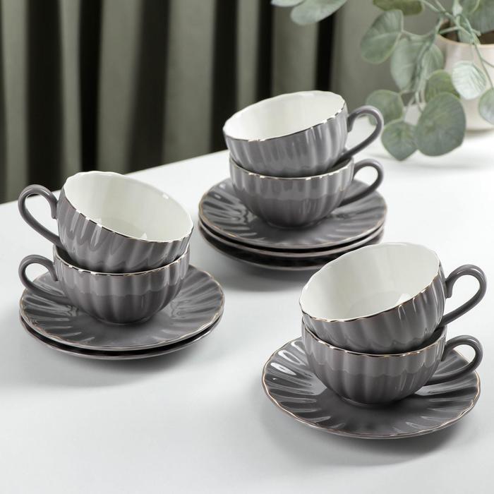 Tea set components: 6 cups 200 ml 6 saucers d-15 cm, gray color