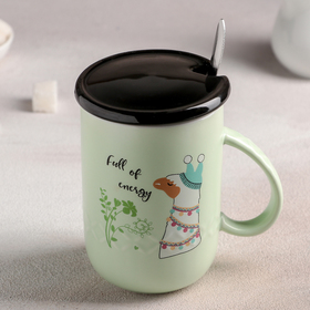 Ceramic mug with lid and spoon Lama 350 ml,12x7,8h11,8 cm, pattern MIX