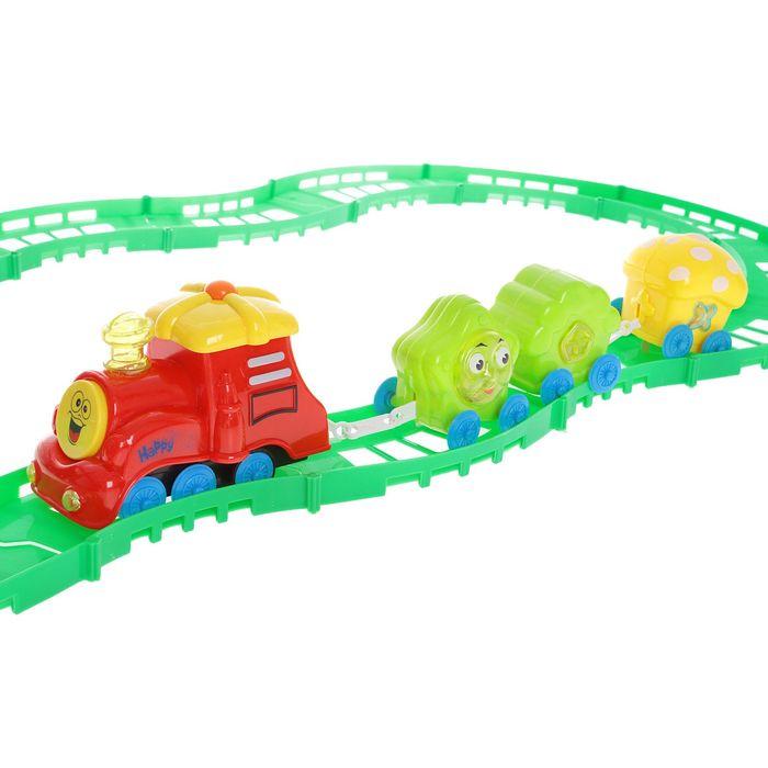 """Железная дорога """"Весёлый паровозик"""", со светозвуковыми эффектами, протяжённость пути 2,4 м"""