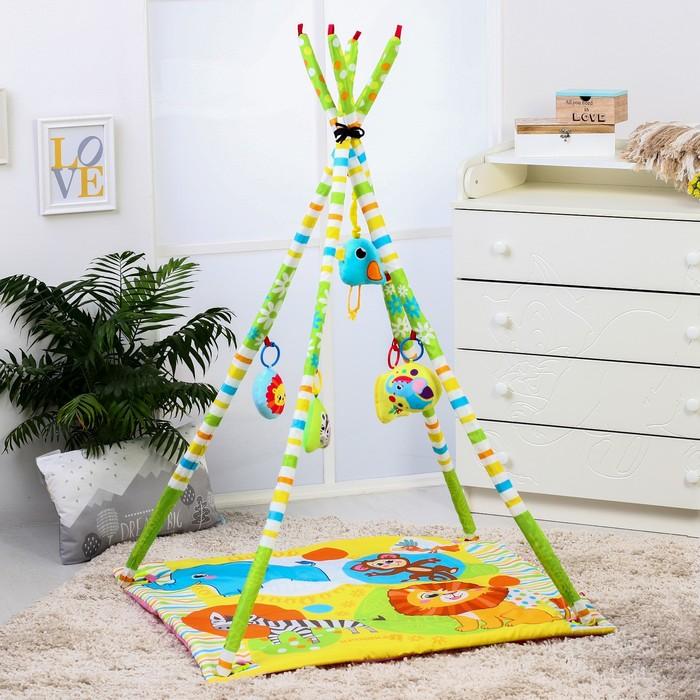 Развивающий коврик - вигвам «Африка», с дугами, 100х100см + ПОДАРОК Мягкая музыкальная игрушка