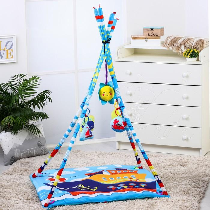 Развивающий коврик - вигвам «Морские приключения», с дугами, 100*100см + ПОДАРОК мягкая музыкальная игрушка - фото 105523432
