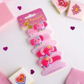 """Резинка для волос """"Весёлый глянец"""" (набор 4 шт) слоники, розовый"""