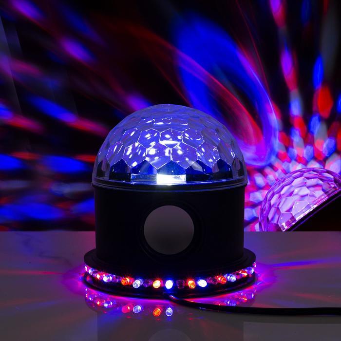 """Световой прибор """"Хрустальный шар"""", LED-54-220V, 1 динамик, Bluetooth, ЧЕРНЫЙ"""