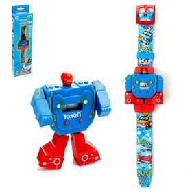Робот-трансформер «Робо-часы», работает от батареек, цвета МИКС