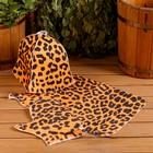 """Набор банный """"Леопард"""" с термомепатью ( шапка, коврик, рукавица)"""