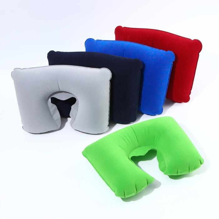 Подушка для шеи дорожная, надувная, 38 × 24 см, цвет зелёный - фото 797564948