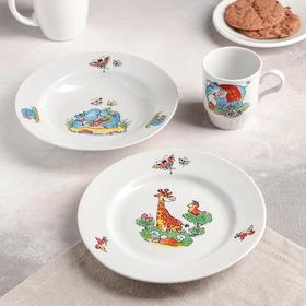"Набор посуды «Зоопарк""», 3 предмета: тарелка d=20 см, миска d=20 см, кружка 210 мл"
