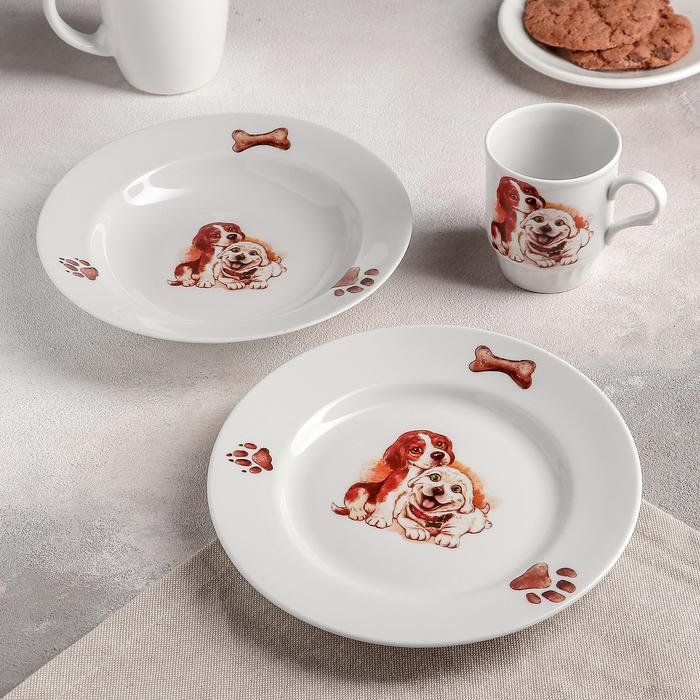 """Набор посуды """"Щенки"""", 3 предмета: тарелка мелкая 20 см, тарелка глубокая 20 см, кружка 210 мл"""