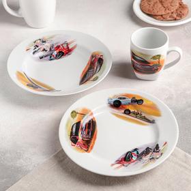 """Набор посуды """"Машинки"""", 3 предмета: тарелка мелкая 20 см, тарелка глубокая 20 см, кружка 210 мл"""