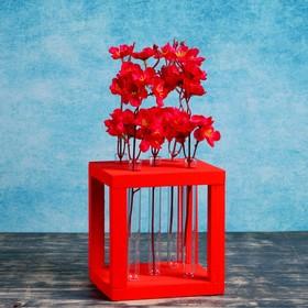 """Кашпо деревянное 15.5×15.5×16.5 см с 5 колбами """"Квадрат"""", красный"""