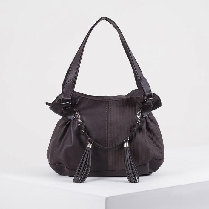 Сумка женская, отдел на молнии, наружный карман, цвет тёмно-коричневый - фото 687348764