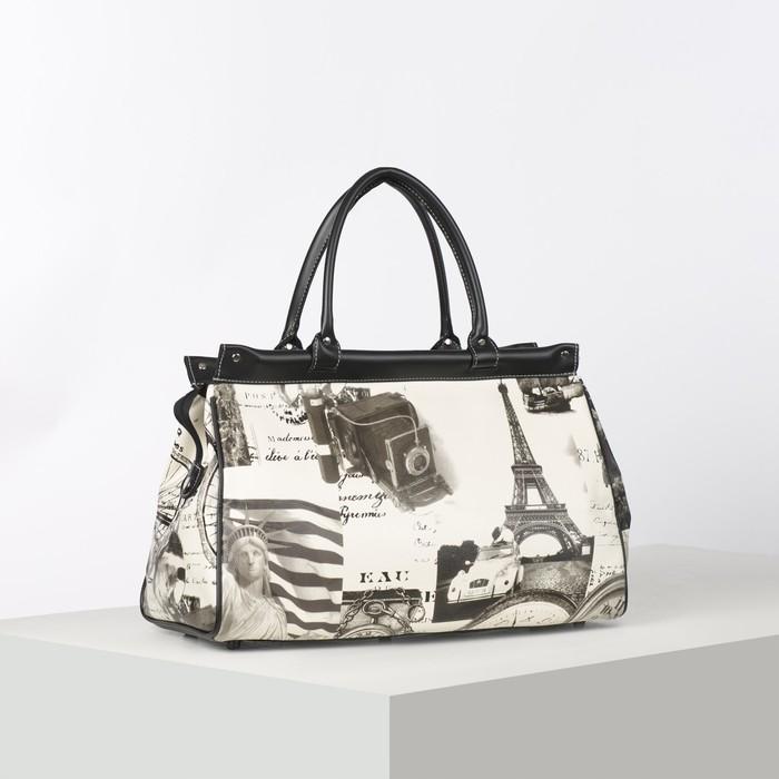Сумка дорожная, отдел на молнии, наружный карман, длинный ремень, цвет белый/чёрный - фото 690703586