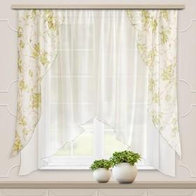 Комплект штор для кухни Офелия 300х160 см, зелёный, полиэстер 100%