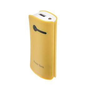 Внешний аккумулятор LuazON, 3600 мАч, USB, 1 А, индикатор зарядки, жёлтый