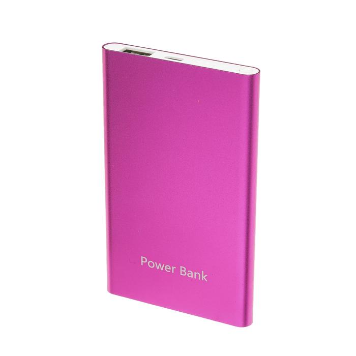 Внешний аккумулятор LuazON, 4000 мАч, USB, 1 А, индикатор, тонкий корпус, металл, розовый - фото 690566133