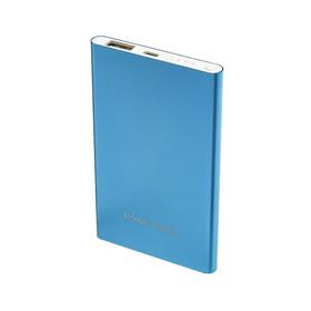 Внешний аккумулятор LuazON, 4000 мАч, USB, 1 А, индикатор, тонкий корпус, металл, синий