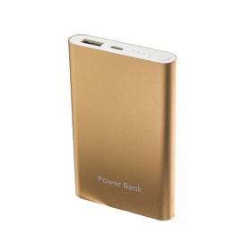 Внешний аккумулятор LuazON, 8000 мАч, USB, 1 А, индикатор, тонкий корпус, металл, жёлтый