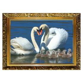 Алмазная мозаика «Лебединая семья» 29,5×20,5см, 24 цвета