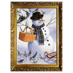 """Алмазная мозаика """"Веселый снеговик"""" 29,5×20,5 см, 24 цветов"""