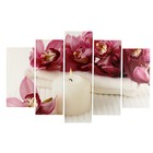 "Модульная картина ""Орхидеи у свечи"" (2-25х50, 2-25х67, 25х80 см) 80х140 см"