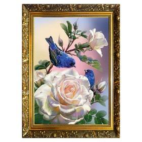 Алмазная мозаика «Птички на розах» 29,5×20,5 см, 25 цветов
