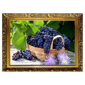 Алмазная мозаика «Корзинка винограда» 29,5×20,5 см, 25 цветов