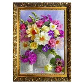 Алмазная мозаика «Цветочный дуэт» 29,5×20,5см, 25 цветов