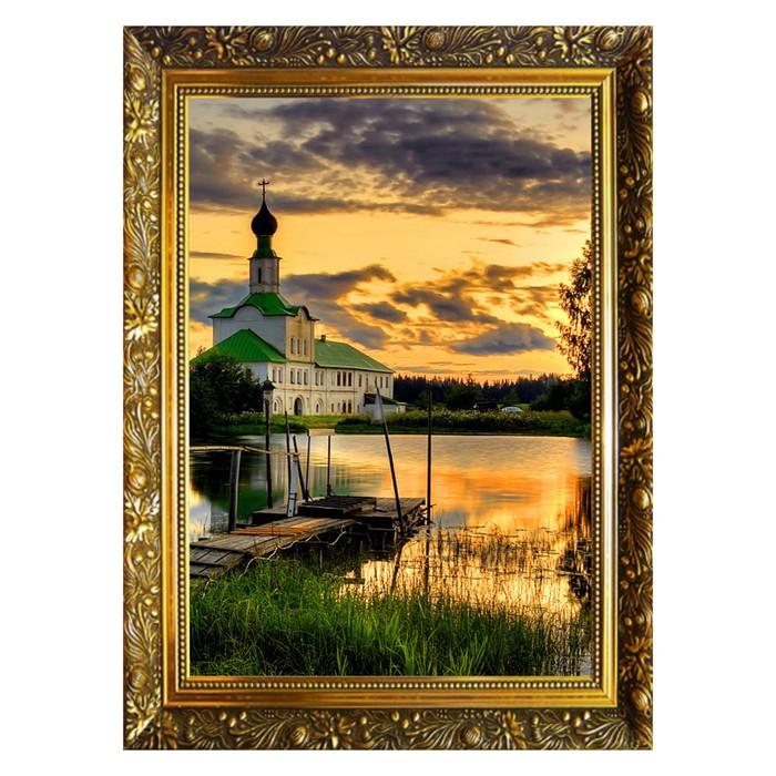 Алмазная мозаика «На берегу пруда» 29,5×20,5 см, 25 цветов