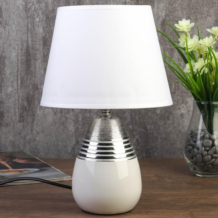 Лампа настольная 7515130TL/1 E14 40Вт белый-серебро 19х19х29,5 см - фото 687671922