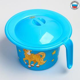 """Горшок детский """"Кроха"""" с крышкой и декором, цвет голубой"""