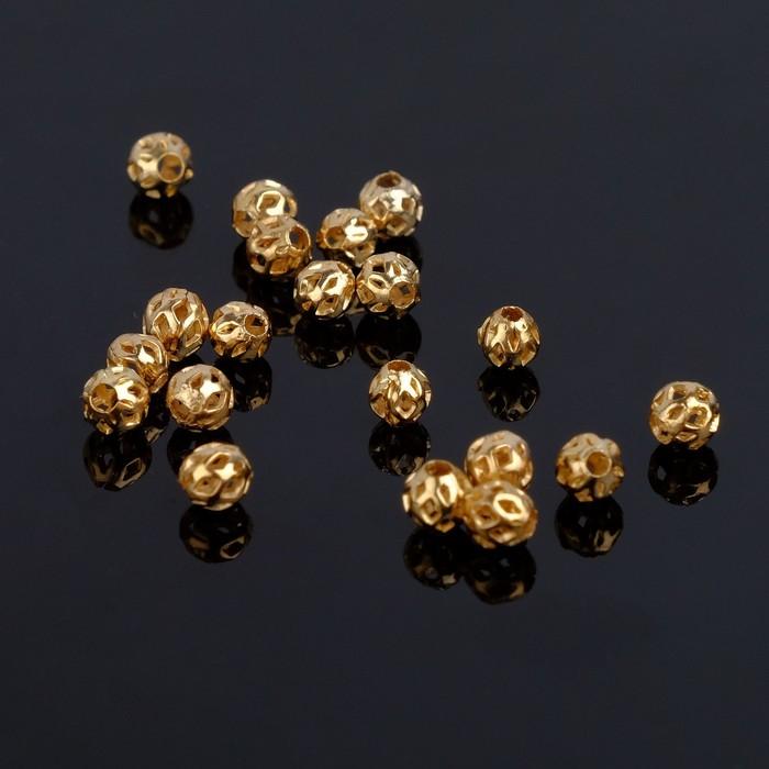 Кримп (зажимная бусина) СМ-393 (набор 20шт), 4мм, цвет золото