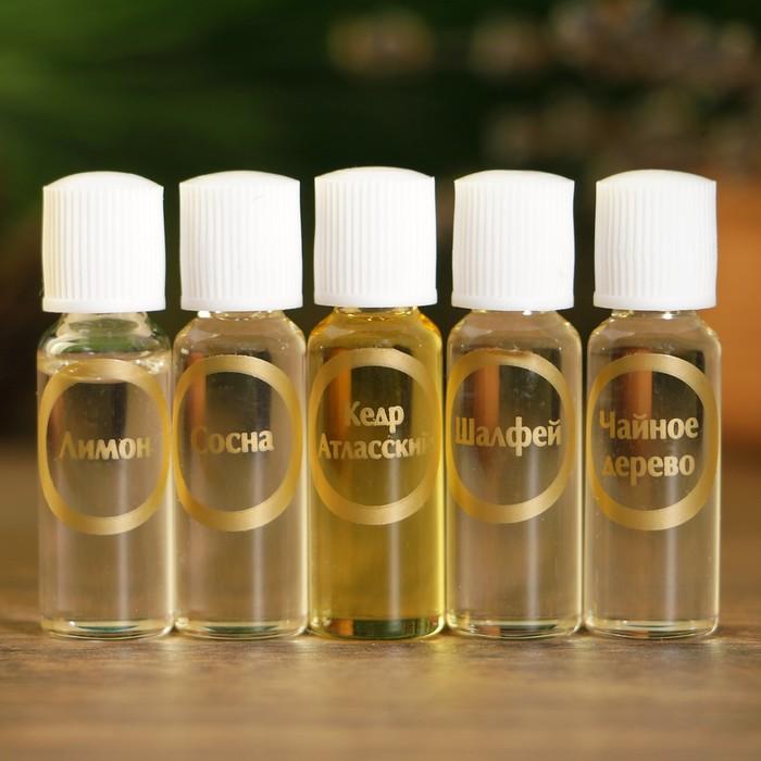 """Набор эфирных масел """"Для волос"""", 5 шт: сосна, шалфей, чайное дерево, кедр, лимон х 2 мл"""