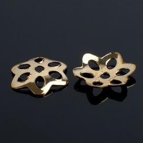 Шапочки для бусин (набор 50шт) СМ-003, 2х10 мм, цвет золото