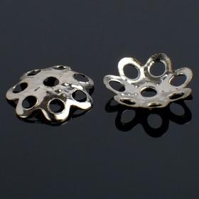 Bead caps (set of 100pcs) CM-004, color: silver