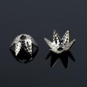 Шапочки для бусин (набор 50шт) СМ-014, 4х7,4 мм, цвет серебро
