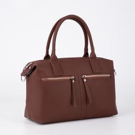 Сумка женская, отдел на молнии, 3 наружных кармана, длинный ремень, цвет коричневый