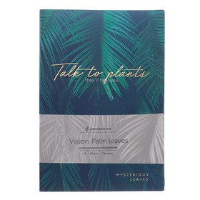 Notebook A6, 80 sheets cage Greenwich Line Vision. Palm leaves, faux leather, tinted block, gold cut.