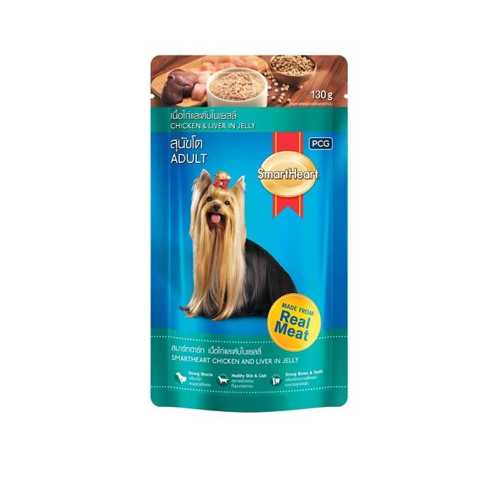 Влажный корм SmartHeart для собак, курица/печень в желе, пауч, 130 г