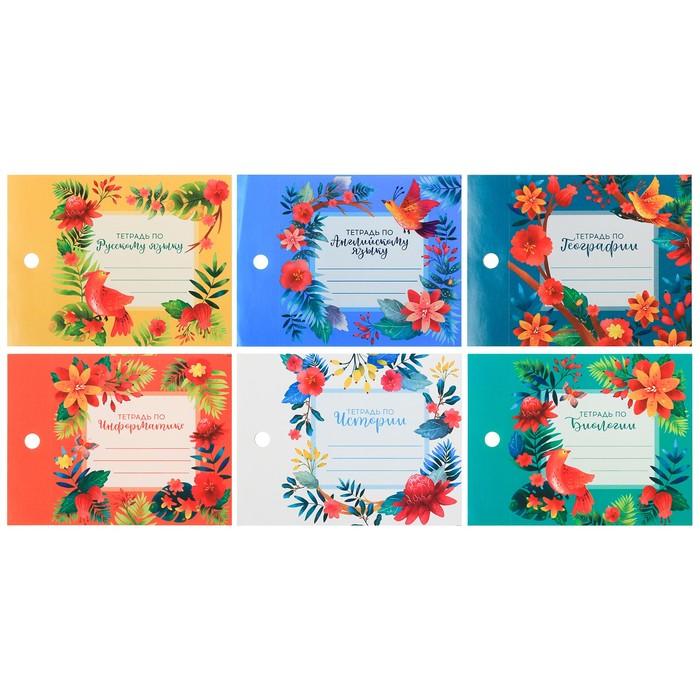 Набор наклеек на тетрадь «Цветочные», 8 × 11 см