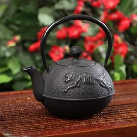 Чайник Доляна «Золотой дракон», с ситом, 700 мл, с эмалированное покрытие внутри, цвет чёрный