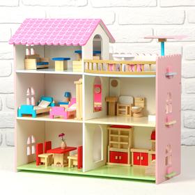 Дом деревянный для кукол, 41×8×50 см, с мебелью