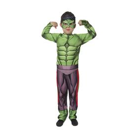 Карнавальный костюм «Халк» без мускулов, текстиль, куртка, брюки, маска, р. 30, рост 116 см
