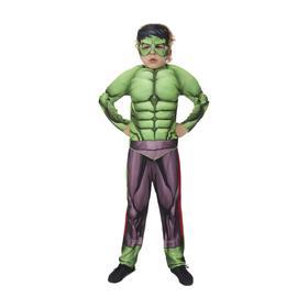 Карнавальный костюм «Халк» с мускулами, текстиль, куртка, брюки, маска, р. 32, рост 122 см