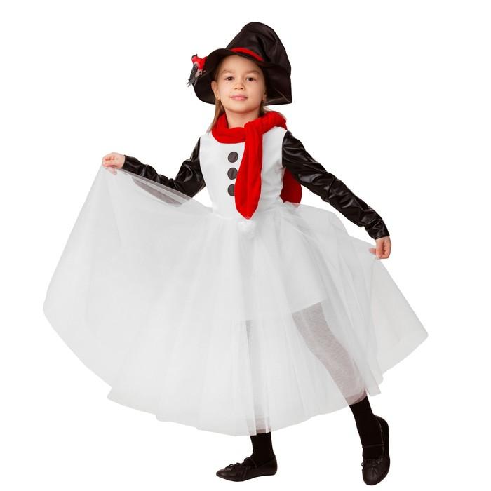 Карнавальный костюм «Снеговушка», текстиль, платье, головной убор, р.32, рост 122 см