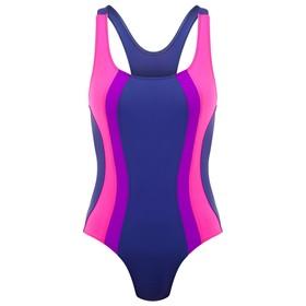 Купальник для плавания сплошной, графит/розовый/фиолетовый, размер 36