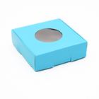 Коробка для печенья, с окном, голубая, 10 х 10 х 3 см